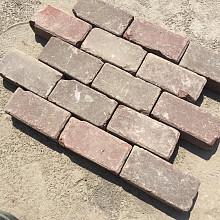Ca. 20m² Oude Gebakken Klinkers, Platkeiformaat, Rood-Paars, P033